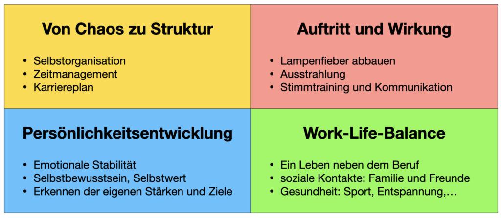 Coaching-Konzept VIER mit 4 Bereichen für beruflichen Erfolg